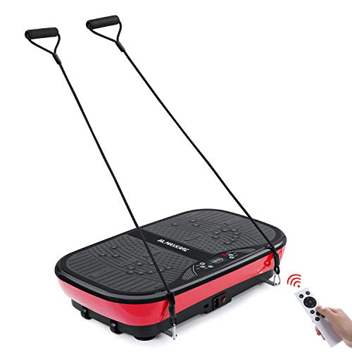 MaxKare Vibration Plate Machine Whole Body Vibration Platform Fitness Workout Plate with 2 Loop Bands+3 Vibrating Zones+10 Modes+99 Speed, Excercise Vibration Mechine for Weight Loss & Shaping