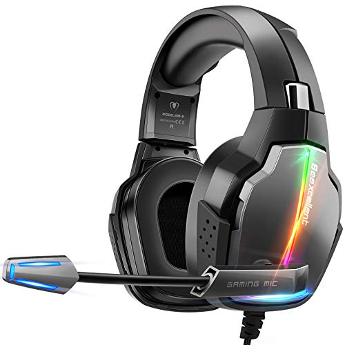 Casque Gaming PS4, Casque Gamer Pro Éclairage RGB avec 4 Mode Flash avec Microphone Flexible Repliable Audio Stéréo Cache-Oreilles Confortable Rotatifs à 90 Degrés Compatible PC Xbox One
