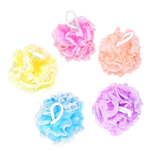 PRETYZOOM 5 Pcs Baignoire De Bain Éponges De Bain Douche Luffa Maille Pouf Boule De Douche pour Hommes Femmes Salle De Bains Spa Lavage (Jaune Bleu Violet Orange Rose)