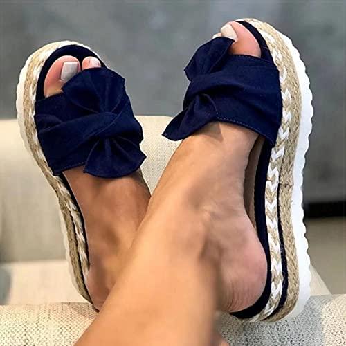 DZQQ Sandalias de Mujer, Zapatos de Verano con Nudo de Lazo, Sandalias de Plataforma para Mujer, Zapatos de cuña deslizantes, Sandalias de tacón para Mujer, Chanclas de Talla Grande para Mujer