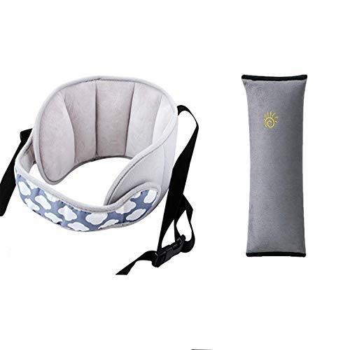 Binjor Kopfstütze Kindersitz fahrrad kinder für autositz nackenstützen kinderautositze Einstellbare schlafkissen kinder Autositz-Kopfgurt verstellbarer kopffixierung Wolkentyp+1graue Schulterstütze