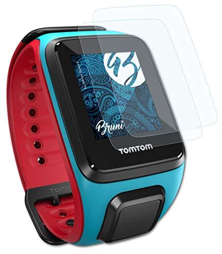 Bruni Schutzfolie kompatibel mit Tomtom Runner 2 Folie, glasklare Bildschirmschutzfolie (2X)