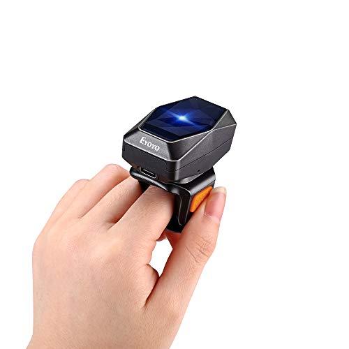 Eyoyo 1D Escáner de Código de Barras, Mini Lector de Código de Barras de Anillo Portátil con USB Cable/Bluetooth / 2,4GHz Inalámbrico 3-en-1 Conexión para Windows Mac OS Android y iOS