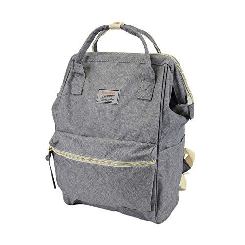 Leoodo Rucksack Damen Herren Daypacks Canvas Tasche stilvolle Schultertasche für Reisen Urlaub Arbeit -AOKING - B 25 x H 38 x T 15 cm, Damen Tasche:Grau