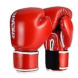 ZTTY ボクシング グローブ PUレザー ラテックスコットン 通気性 テコンドー 格闘技 空手用手袋 スパーリンググローブ (Red, 8oz)