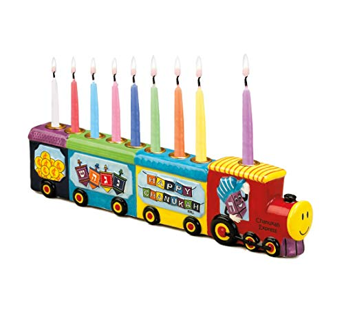 Rite Lite Chanukah Menorah Express Ceramic Menorah, 11.5 Multi-Color Hannukah Menorah