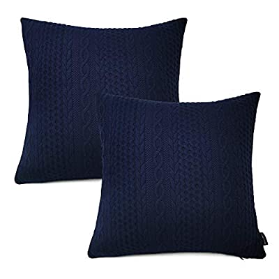 Booque Valley Decorative Pillow Covers, Pack of 2 Super Soft Elegant Modern Embossed Patterned Cushion Covers Throw Pillow Cases for Sofa Bed Car Chair, 20 x 20 inch(Navy Blue)
