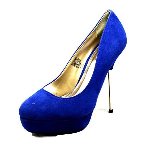 SendIt4me Damen Velours Verstecktes Plateau mit Metall Stiletto High Heel - Blau Wildlederimitat, EU 38