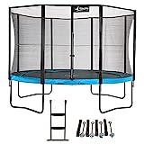 Kangui - Trampoline de Jardin Rond 430 cm + Filet de sécurité + échelle + kit d'ancrage PUNCHI Bleu 430