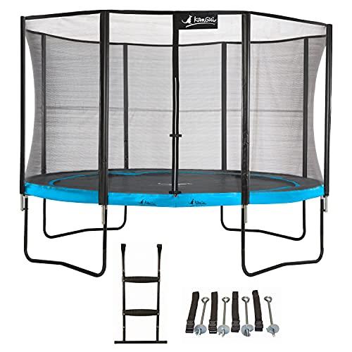 Kangui - Trampoline de Jardin 365 cm + Filet de sécurité + échelle + kit d'ancrage PUNCHI Bleu 360