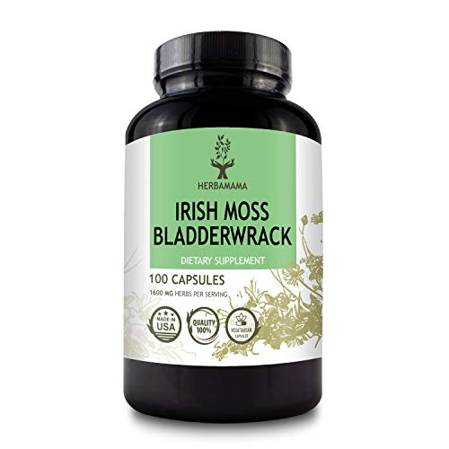 HERBAMAMA Irish Moss & Bladderwrack Capsules - Seaweed Dietary Supplement for Immunity, Thyroid, Digestive & Joint Support - Non-GMO Nutritional Sea Moss Superfood - 1600mg, 100 Vegetarian Capsules