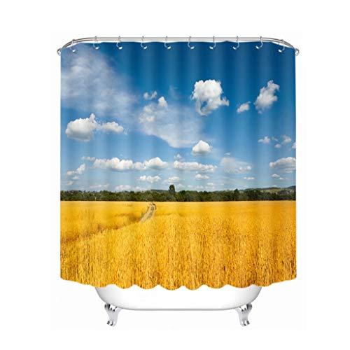 KJGTR DuschvorhangGrünland-Landschaftsblauer Himmel-& Weizen-Feld-Duschvorhänge imprägniern verdickten die Badezimmervorhänge, die für das k&engerechte Badezimmer sind