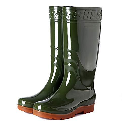 Rain Boots Mens PVC Waterproof Garden Shoes Car Wash Footwear Adult Outdoor Work Rubber Boots,Green,39