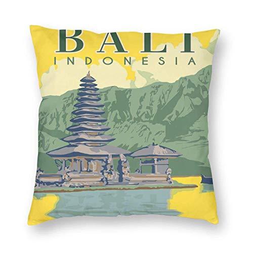 GodYo Kissenbezug werfen Vintage Style Bali Indonesien Reisen,Kissenbezüge Kissenbezüge 1 Packung mit Reißverschluss 20 'x20'