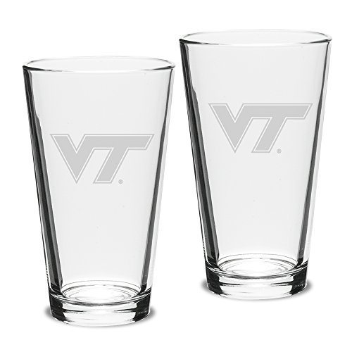 University Glass NCAA Virginia Tech Hokies Pub Pint Glasses, 16 Ounce (Pack of 2) Deep Etch Engraved, Officially Licensed Clear Beer Mixing Glasses for Adults