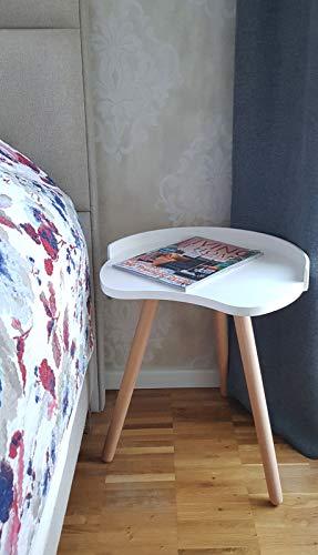 CLP Runder Nachttisch Narvik I Beine Aus Holz I Beistelltisch I Couchtisch I Klein, Farbe:Natura/weiß