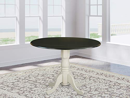 """East West Furniture DLT-BLW-TP Dublin Round Table with two 9"""" Drop Leaves-Black and Linen White Finish"""