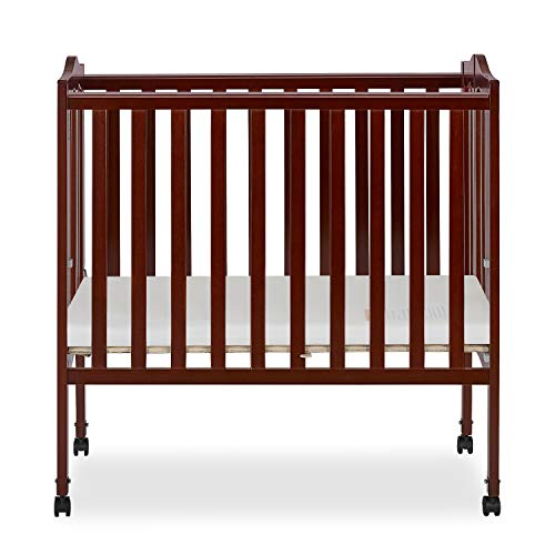 Dream On Me 2-in-1 Lightweight Folding Portable Stationary Side Crib in Cherry,...