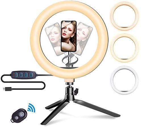 Anillo de luz LED, Selfie Ring Light con Control Remoto Bluetooth y Trípode 3 Colores Modo 10 Brillos Regulables, Aro de luz LED Rotación de 360 ° para Selfie, Maquillaje y Youtube Live (Short 19cm)