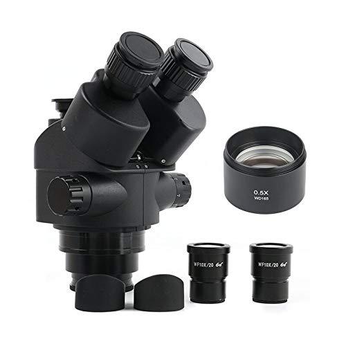 LIMEI-ZEN Microscope 7X-45X Zoom Parfocal Trinocular Stereo Microscope Head+Pair of Wide View WF10X/20 Eyepiece Lens (Color : 3.5 45X(0.5X))