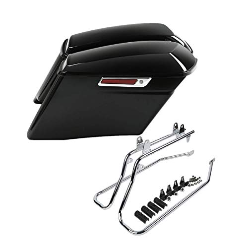 XFMT 4' CVO Stretched Extended Hard Saddlebags W/Chrome Conversion Bracket For Harley Heritage Softail Deluxe 1986-2013