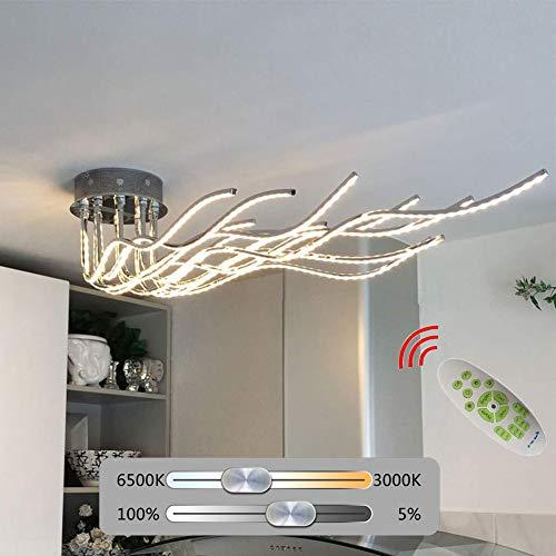 Moderne LED Deckenleuchte dimmbar mit Fernbedienung,  Deckenlampe 10 flammig Verstellbare schwenkbar, Wohnzimmerlampe Esszimmerlampe Schlafzimmerlampe Küchenleuchte / Chrom / 7280 Lumen / 150 cm