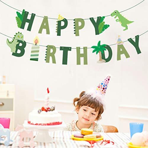 YEZIDE Dinosaur Happy Birthday Banner Garland Dinosaur Fossil Bunting for Kids Boys Birthday Party Decoration Supplies