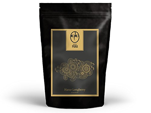 KAFFEE PURA Harar Longberry, biologisch angebaut und fair gehandelt (1000g ganze Bohnen)