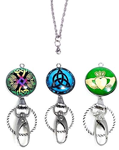 Interchangeable ID Holder Badge Lanyard Pendant Necklace Celtic Pride (Complete Lanyard Necklace)