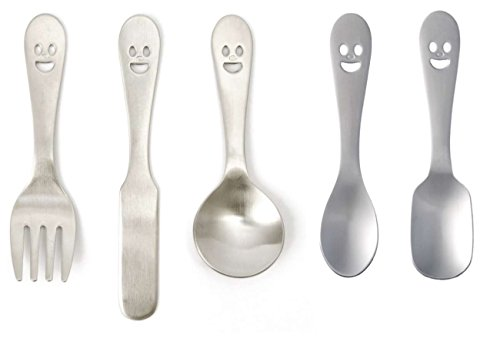 Made in Japan Happy Face Petit Cutlery Set (Fork, Knife, 3 Spoons)