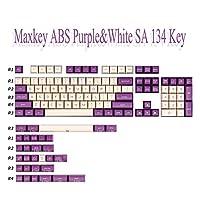 キーキャップ メカニカルゲーミングキーボードのためのキーキャップABS素材134キー紫色の白い2色の射出成形 汚れ防止 (Color : Purple White 134 key)