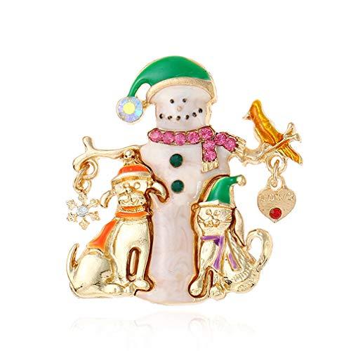 YAZILIND Christmas Brooch Pin Santa Claus and Dog Rhinestone Corsage Xmas Breastpin Jewelry Gifts