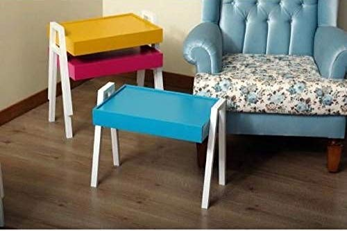 Homes Decor Nest of 3 Tray Coffee Table Side/End Tables Living Room Furniture Modern Rainbow Nesting Table