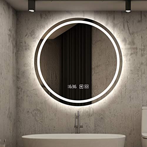L&ED Espejo retroiluminado Redondo, Espejo de baño Iluminado con LED de Pared, botón táctil + antiniebla + Tiempo/Temperatura, Espejo de vanidad Moderno