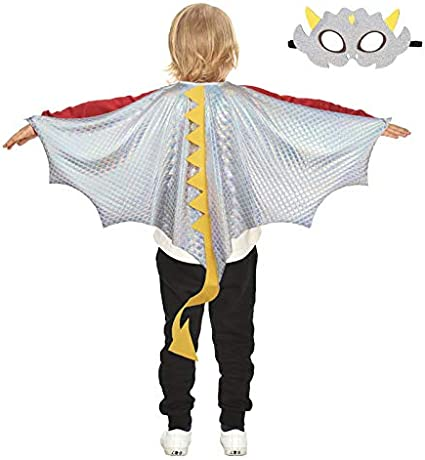 Black Green Kids Dragon Wings-Costume Mask for Boys Girls Dinosaur-Dress-Up Cape Cosplay Birthday Party Favors