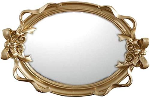 LHY- Maquillage Miroir Home Style de Style européen Palais Bow Plexiglas Miroir Lumineux d'or gaufrée Miroir Mural La Mode