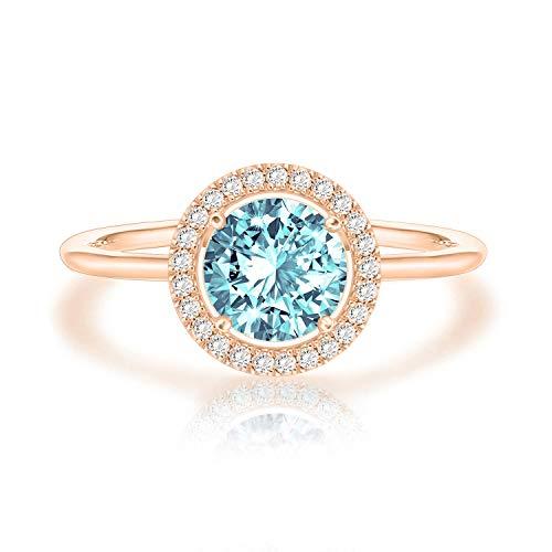 Swarovski Crystal 14K Rose Gold Plated Birthstone Rings | Rose Gold Rings for Women | Aquamarine Ring