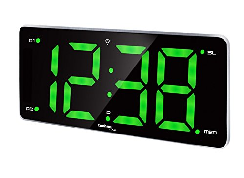 WT 486 RADIOWECKER WECKRADIO FUNK-WECKER UHR GRÜN LED ZIFFERN XXL 2 WECKZEITEN PROGRAMMIERBARE ALARME