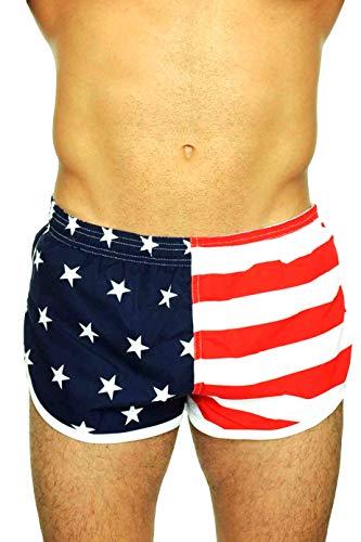 UZZI Men's Running Shorts Swimwear Trunks 1830, American Flag, Small