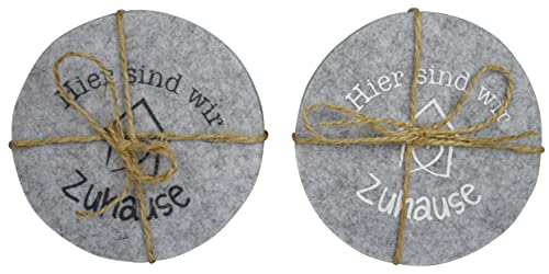 CHICCIE Set di 8 sottobicchieri in feltro grigio 10 cm