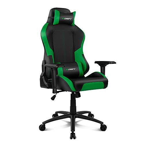 Drift DR250G - Silla Gaming Profesional, polipiel, reposabrazos ajustable 4D, piston clase 4, asiento basculable, altura regulable, respaldo reclinable, cojines lumbar y cervical, color negro/verde