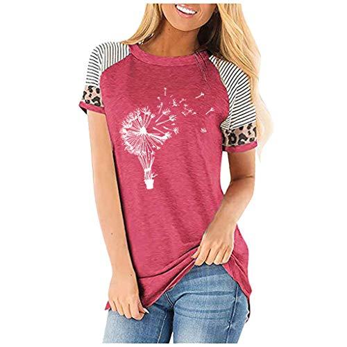KIMODO T-Shirt Tops Damenmode Lässig Blusen Elegante Oberteile Blumendruck Kurzarm V-Ausschnitt Casual Hemd Langarm Shirt (Pink, XXL)