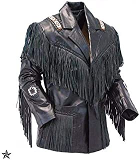 COCOBEE Men's Slim Fit Leather Jacket Cowboy Western Suede Leather Jacket with Fringe and Tassels