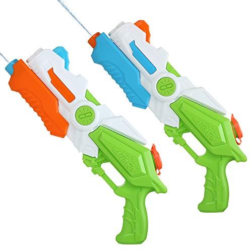 LIHAO 2 Piezas Pistola de Agua Gran Capacidad de Alta Presión para Niños Adultos Juguete Educativo Regalo Cumpleaños Verano Playa Piscina Fiesta