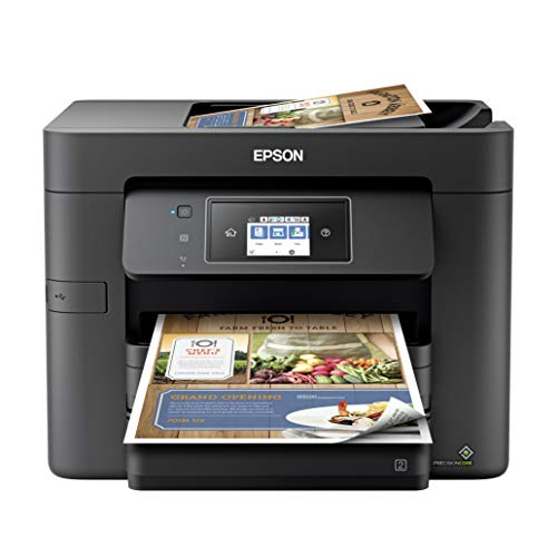 Epson Workforce Pro WF 37XX Series Wireless All-in-One Color Inkjet Printer for Home Office - Print Scan Copy Fax - Voice-Activated, 20 ppm, Auto 2-Sided Printing, 500-Sheet, 35-Sheet ADF, Ethernet