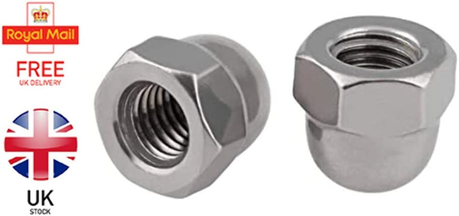 Domed DIN 1587 -SS8/® Quality 2 x Dome Hex Cap Nuts Metric A2 Stainless Steel M3-M16