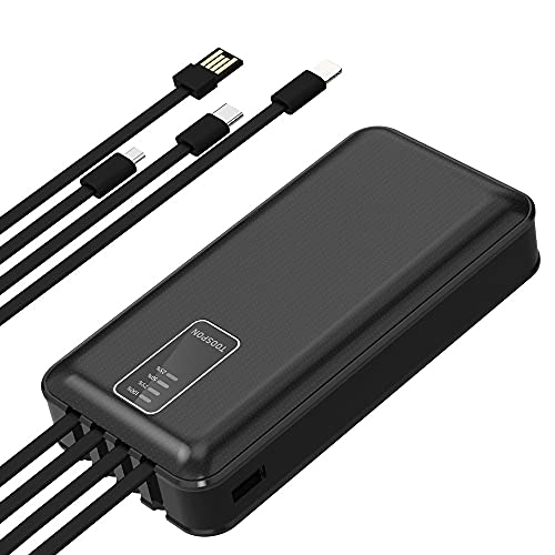 Power Bank 30000mAh All-in-one Build in 4 Plugs Provides Charging to 4 Devices at The Same time Quick Charge Cell Phone Tablet Bluetooth Speaker Headphone etc. (30000mAh Black)