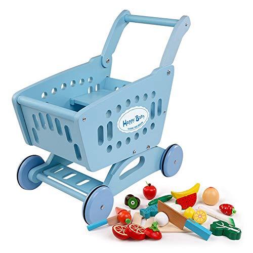 Carrito de Compras de Juguetes Madera carretilla del supermercado pretender ser Juguetes for niños adecuados for lactantes de más de 36 meses para Niños y Niñas ( Color : Azul , Size : 40x41x24CM )