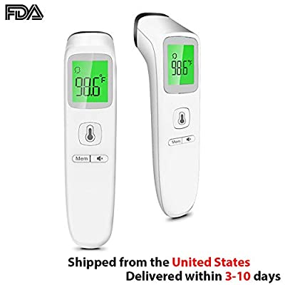 Professional Forehead Thermometer, Digital Infrared Thermometer Non-Contact Ear Thermometer with LED Backlight Display for Immediate and Accurate Reading, Suitable for Baby Kids Children Adults…