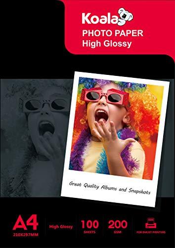 Koala Inkjet Hochglänzend Fotopapier DIN A4, 200 g/m², 100 Blatt, für Canon HP Epson Tintenstrahldrucker